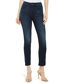 Imitation-Pearl Ankle Skinny Jeans