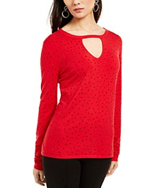 INC Petite Studded Keyhole-Neck Sweater, Created For Macy's