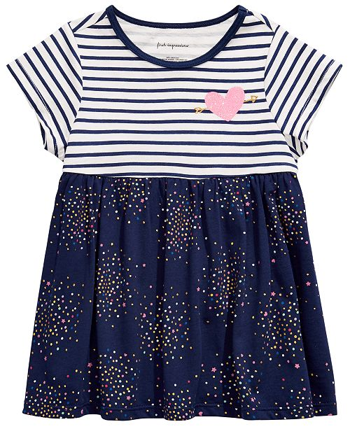 First Impressions Baby Girls Confetti-Print Striped Cotton Tunic, Created for Macy's