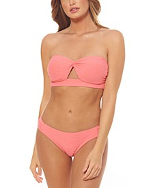 Rose Bay Solid Textured Twist Bandeau Bikini Top & Shirred Hipster Bottoms