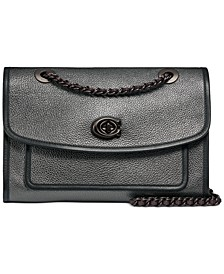Metallic Leather Binding Soft Parker Shoulder Bag