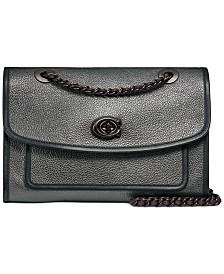 Metallic Leather Binding Soft Parker Shoulder Bag