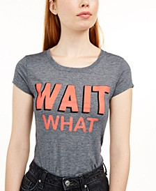 Juniors' Wait What Micro-Striped Graphic T-Shirt