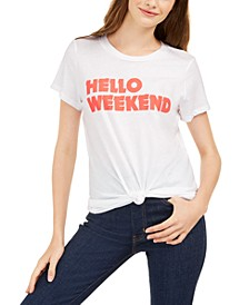 Juniors' Hello Weekend Graphic T-Shirt