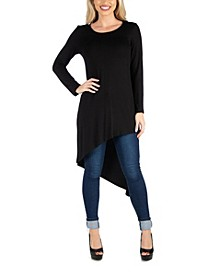 Women Full Length Long Sleeve Asymmetric Hem Top