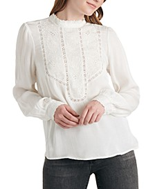 Florence Embroidered Lace-Trim Top