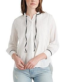 Quinn Cotton Pleated Lace-Trim Blouse