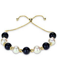 Cultured Freshwater Pearl (8mm) & Onyx (8mm) Beaded Bolo Bracelet in 14k Gold