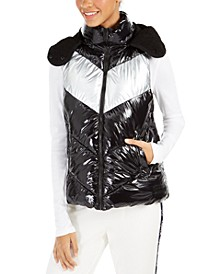 Chevron-Quilted Hooded Vest