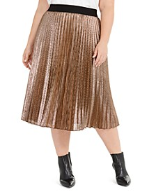Plus Size Pleated Metallic Midi Skirt, Created for Macy's
