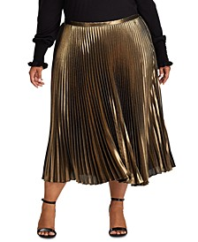 Plus Size Pleated Metallic Skirt