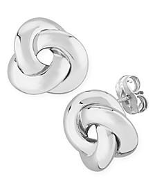 Knife Edge Knot Stud Earrings Set in 14k White Gold