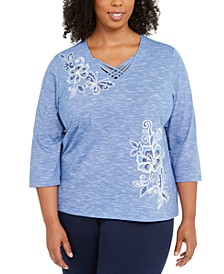 Plus Size Pearls of Wisdom Floral Embroidered Top