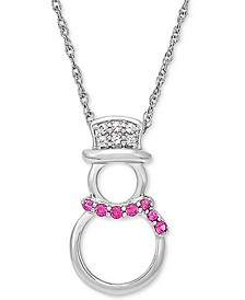 "Lab-Created Ruby (1/8 ct. t.w.) & White Sapphire (1/10 ct. t.w.) Snowman 18"" Pendant Necklace in Sterling Silver"