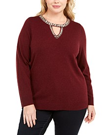 INC Plus Size Embellished Keyhole Sweater, Created For Macy's