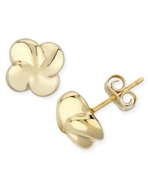 Puffed Twist Stud Earrings Set in 14k Gold (10mm)