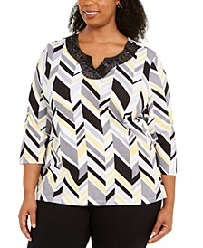Plus Size Riverside Drive Beaded Geometric Print Top