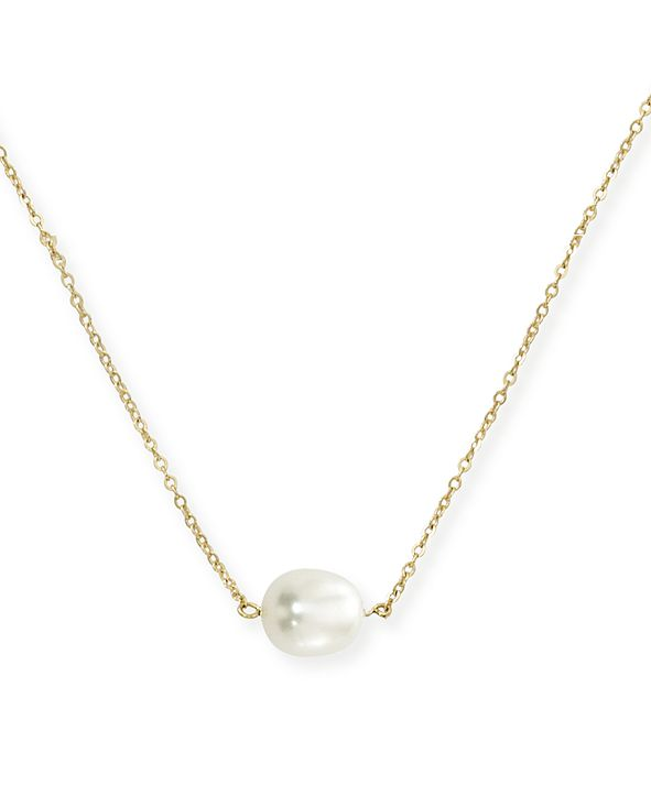 Macy's Single Pearl (10 x 8 mm) Necklace Set in 14k Yellow Gold