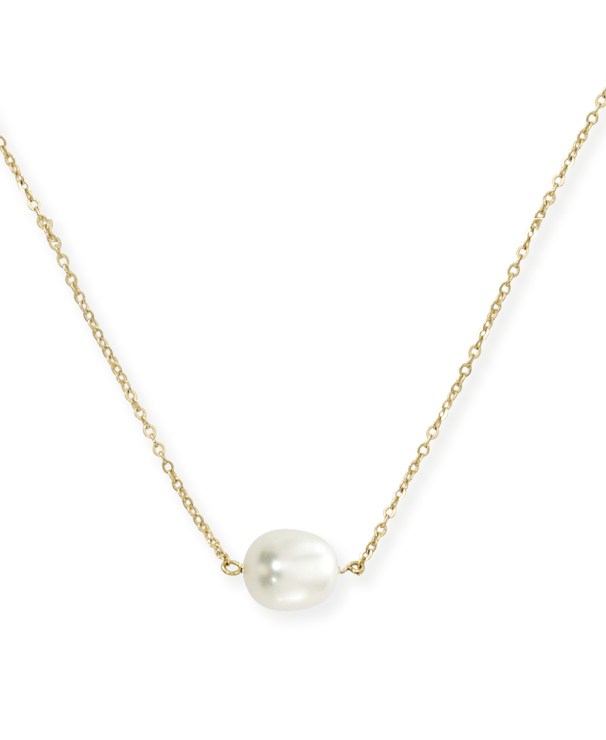 Single Pearl (10 x 8 mm) Necklace Set in 14k Yellow Gold