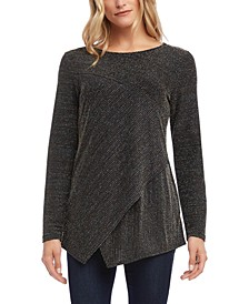 Metallic Asymmetrical-Hem Knit Top