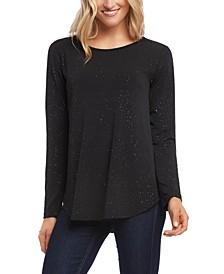 Sparkle-Knit Shirttail-Hem Top