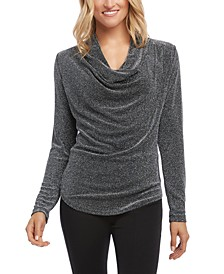 Metallic Cowl-Neck Top