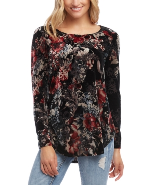 Karen Kane Tops VELVET BURNOUT LONG-SLEEVE TOP