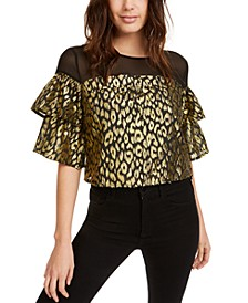 Gold-Foil Animal-Print Top