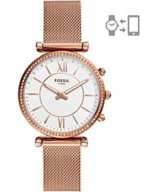 Women's Carlie Rose Gold-Tone Stainless Steel Mesh Bracelet Hybrid Smart Watch 36mm