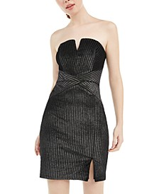 Juniors' Strapless Metallic-Stripe Bodycon Dress
