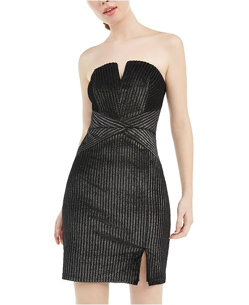 Trixxi Juniors' Strapless Metallic-Stripe Bodycon Dress
