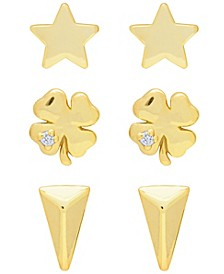 Link Up 3-Piece Set Clover, Star and Triangle Stud Earrings in 18K Gold Over Sterling Silver