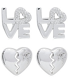 Link Up 2-Piece Set Love and Broken Heart Sterling Silver Stud Earrings