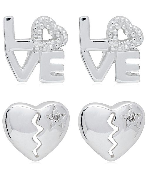 Link-Up Link Up 2-Piece Set Love and Broken Heart Sterling Silver Stud Earrings