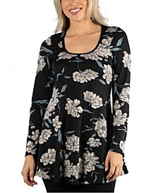 Women Long Sleeve Floral Swing Style Flared Top