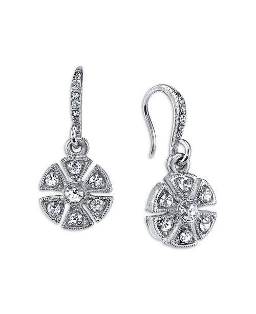 Downton Abbey Crystal Art Deco Flower Drop Earrings