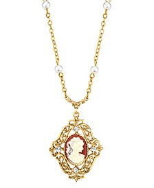 14K Gold-Dipped Carnelian Cameo with Imitation Pearl Necklace