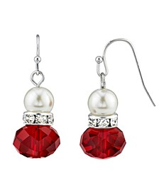 Simulated Imitation Pearl Crystal Rondell Drop Earring