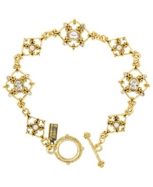 14K Gold-Dipped Crystal Link Toggle Bracelet
