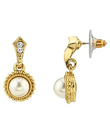 Simulated Imitation Pearl Crystal Drop Earrings