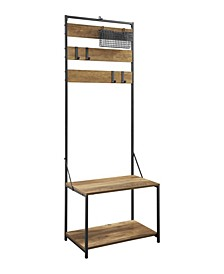 Slat Hall Tree with Adjustable Storage