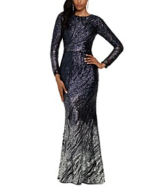 Long-Sleeve Ombré Sequined Gown