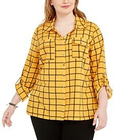 Plus Size Polka Dot Button-Down Shirt