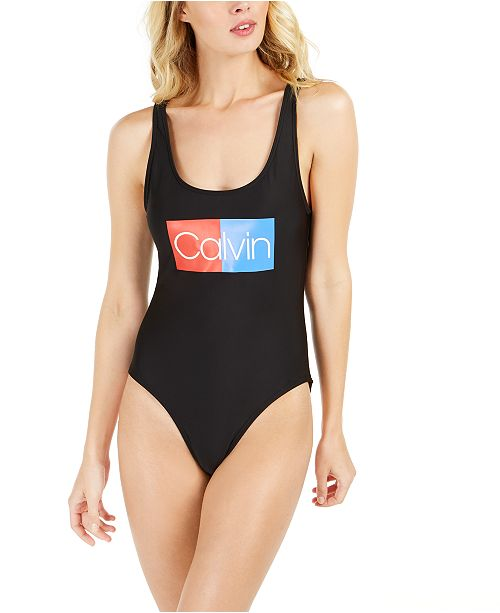 Calvin Klein Logo Deep U-Back One-Piece Swimsuit