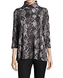 Snakeskin-Print Funnel-Neck Top