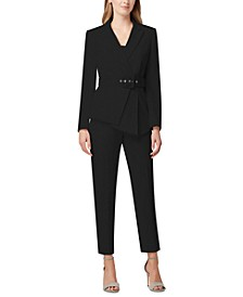 Pleated-Blazer Pants Suit