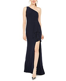 Juniors' One-Shoulder Slit Gown