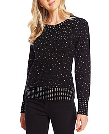 Crew-Neck Rhinestone-Embellished Sweater