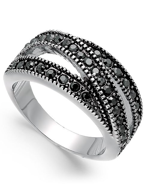 INC International Concepts INC Hematite-Tone Crystal Overlap Stackable Ring