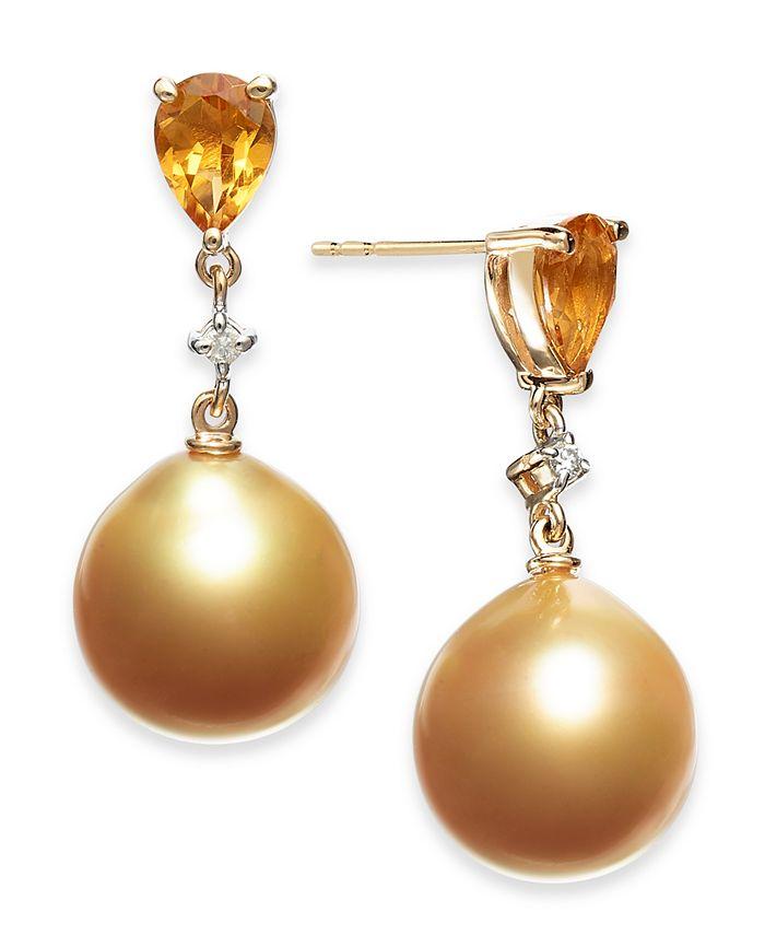Macy's - Cultured Baroque Golden South Sea Pearl (12mm) & Citrine (1-1/3 ct. t.w.) & Diamond (1/20 ct. t.w.) Drop Earrings in 14k Gold